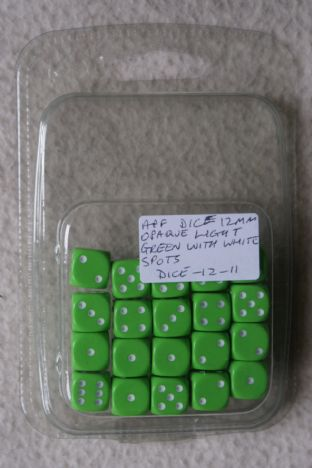APF Dice-12-11 12mm D6 Opaque Light Green with White Spots